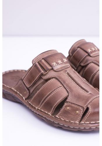 Pánské kožené pantofle v hnědé barvě