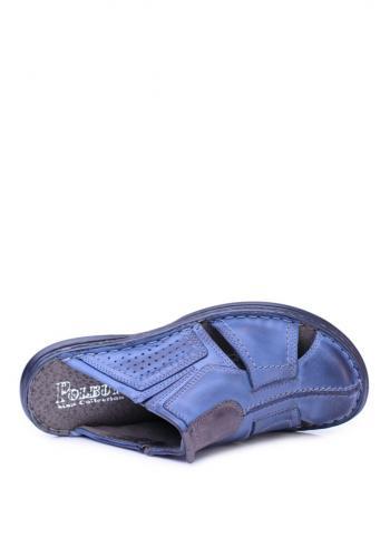 Tmavě modré kožené pantofle pro pány