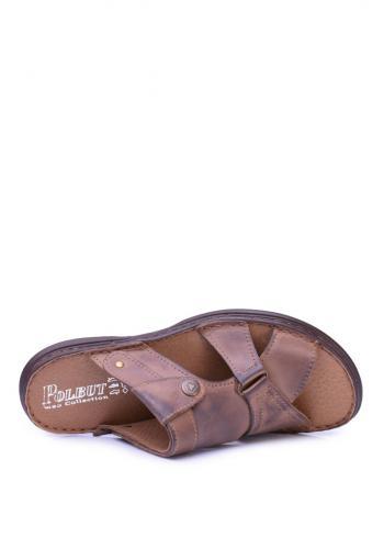 Kožené pánské pantofle hnědé barvy