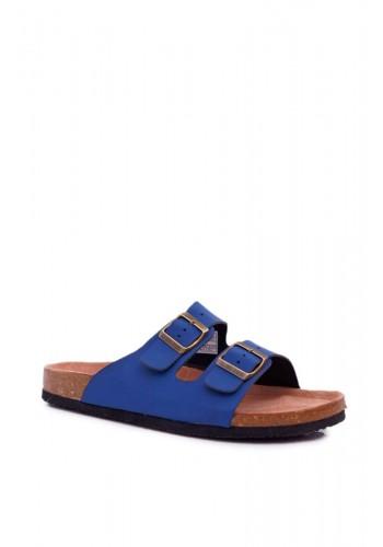 Pánské módní pantofle s přezkami v tmavě modré barvě