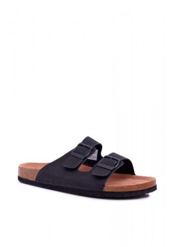 Černé módní pantofle s přezkami pro pány