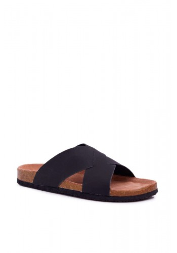 Módní pánské pantofle Big Star černé barvy