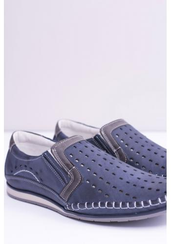 Kožené pánské mokasíny tmavě modré barvy