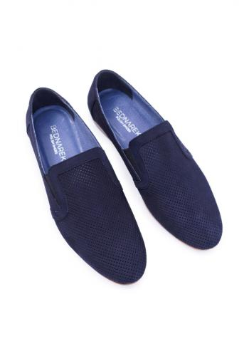 Elegantní pánské mokasíny tmavě modré barvy s děrovaným povrchem