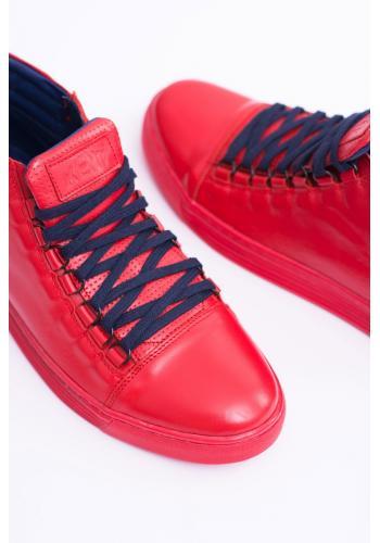 Kožené pánské tenisky červené barvy