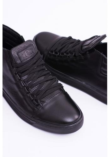 Pánské kožené tenisky v černé barvě