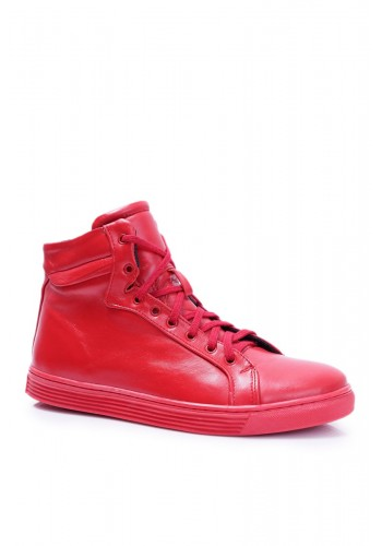 Pánské kožené tenisky v červené barvě