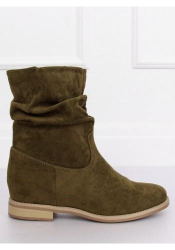 Dámské semišové boty na skrytém podpatku v zelené barvě