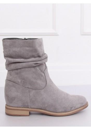 Šedé semišové boty na skrytém podpatku pro dámy