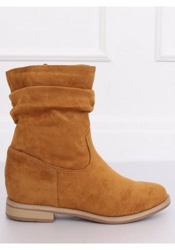 Semišové dámské boty hnědé barvy na skrytém podpatku