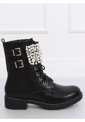 Stylové dámské Workery černé barvy s perlami