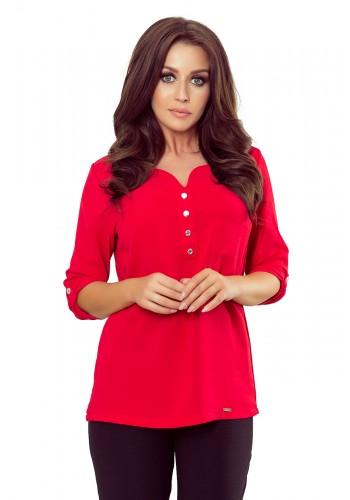 Dámská módní halenka s knoflíky v červené barvě