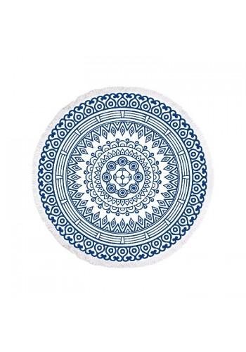 Modrý kulatý ručník na pláž s motivem mandaly