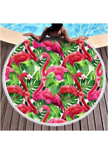 Kulatý plážový ručník s motivem plameňáků