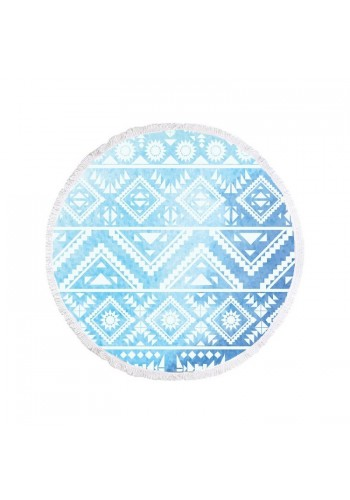 Kulatý plážový ručník modro-bílé barvy s geometrickými vzory