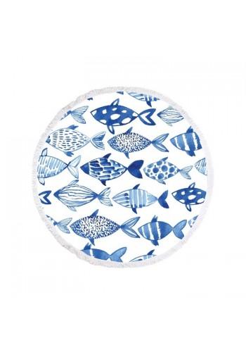 Kulatý plážový ručník bílé barvy s motivem ryb
