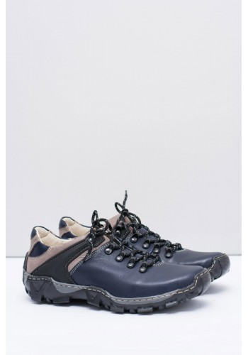 Kožená trekingová obuv pro pány tmavě modré barvy