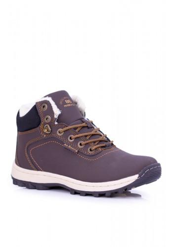 Oteplená trekingová obuv pro pány tmavě hnědé barvy