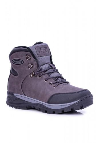 Oteplené trekingové boty pro pány šedé barvy