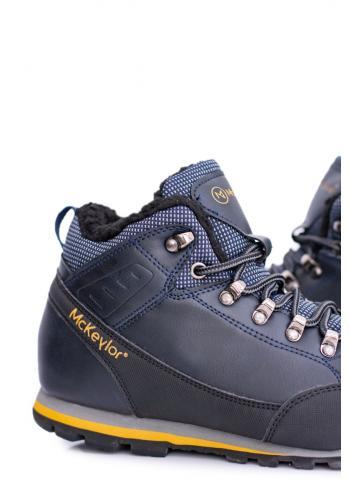 Oteplené trekingové boty pro pány tmavě modré barvy