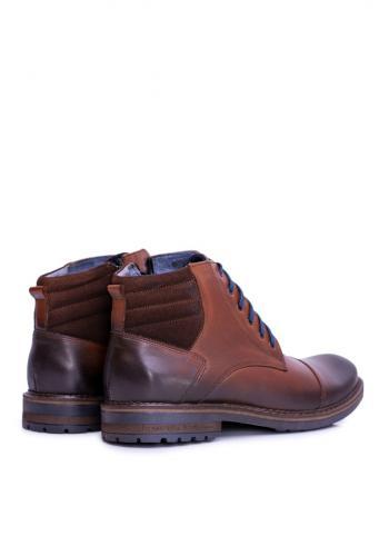 Pánské kožené boty v hnědé barvě