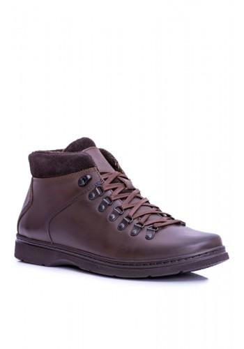 Oteplené kožené boty hnědé barvy