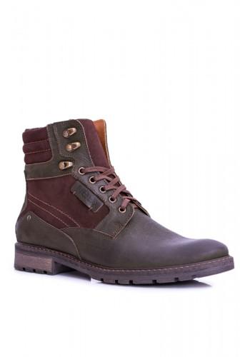 Olivové oteplené kožené boty pro pány