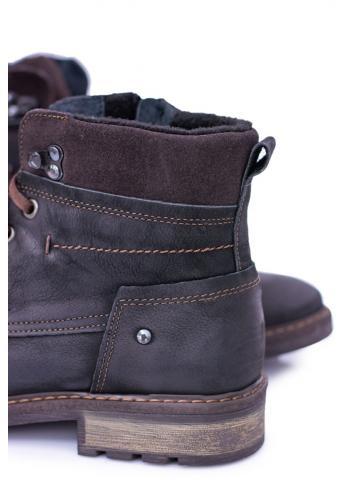 Oteplené kožené boty pro pány černé barvy