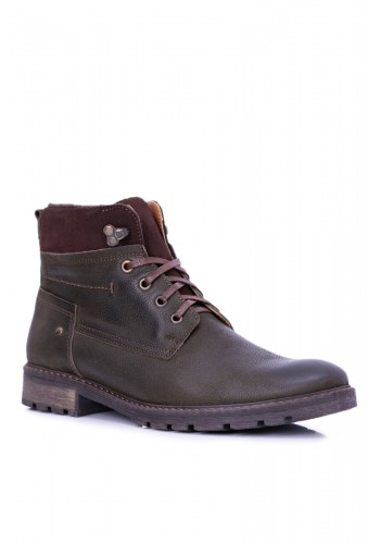 Pánské oteplené kožené boty v olivové barvě
