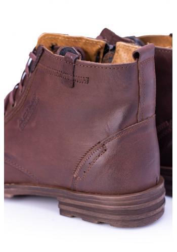 Hnědé oteplené kožené boty pro pány