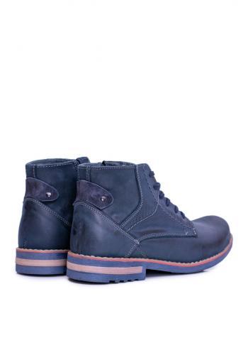 Pánské oteplené kožené boty v tmavě modré barvě