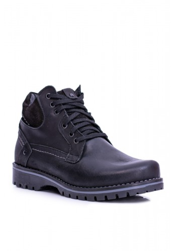 Oteplené pánské boty černé barvy na zimu