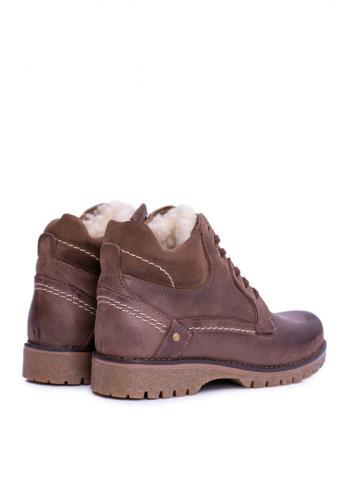 Pánské oteplené boty na zimu v hnědé barvě