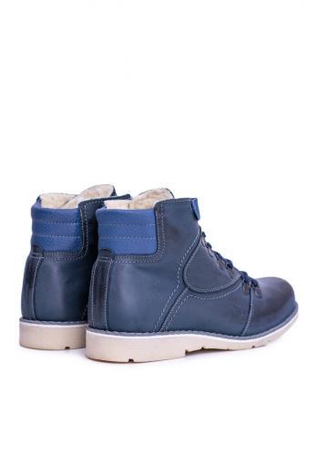 Oteplené kožené boty pro pány tmavě modré barvy