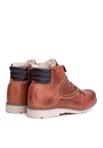 Pánské oteplené kožené boty v hnědé barvě