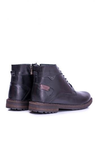 Černé oteplené kožené boty pro pány
