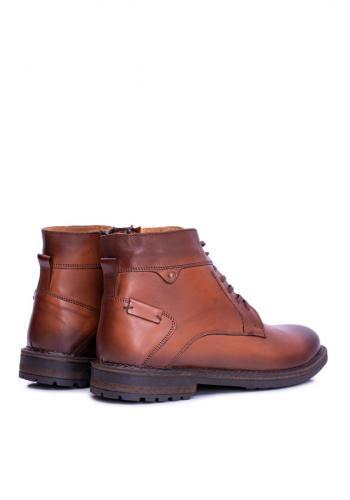 Oteplené kožené boty pro pány hnědé barvy