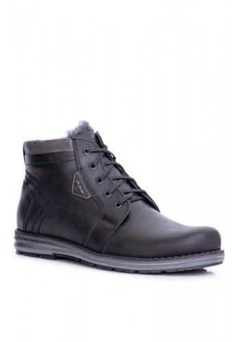 Černé oteplené boty na zimu pro pány
