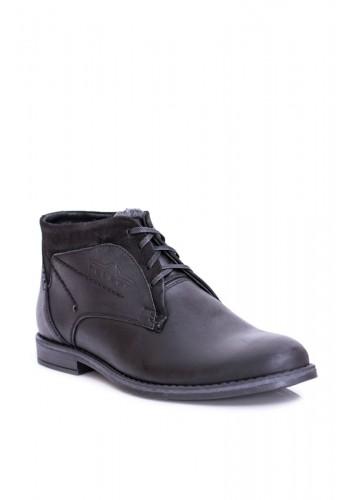 Pánské oteplené kožené boty v černé barvě