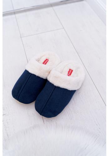 Tmavě modré pantofle s kožešinou pro pány
