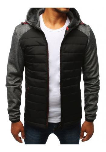 Prošívaná pánská bunda tmavě šedé barvy na přechodné období