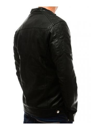 Černá kožená bunda s prošívanými prvky pro pány