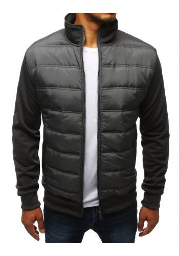 Pánská prošívaná bunda na přechodné období v tmavě šedé barvě
