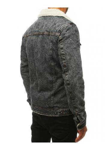 Tmavě šedá riflová bunda s kožešinou pro pány