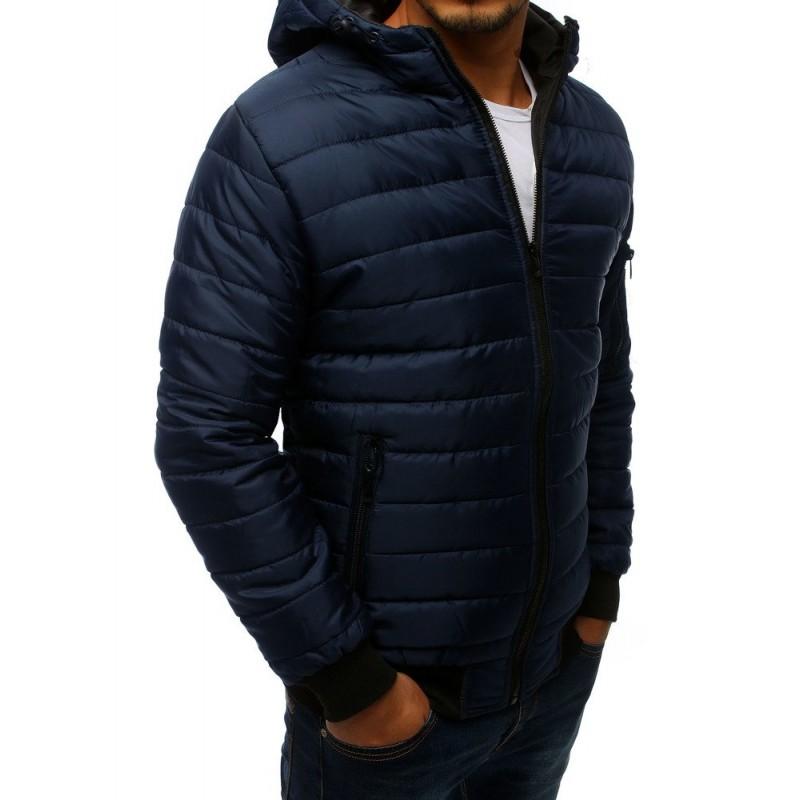 Tmavě modrá prošívaná bunda s kapucí pro pány
