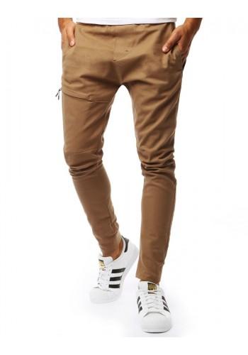 Módní pánské kalhoty hnědé barvy