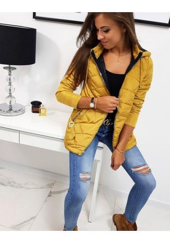 Prošívaná dámská bunda žluté barvy s kapucí