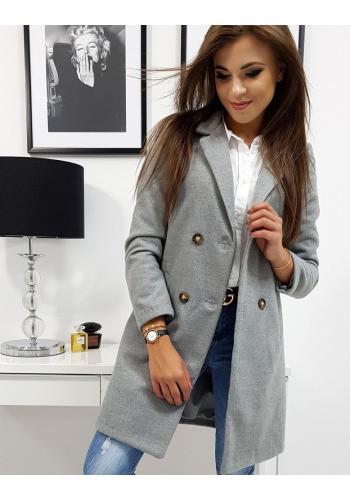Světle šedý dvouřadový kabát na jaře pro dámy