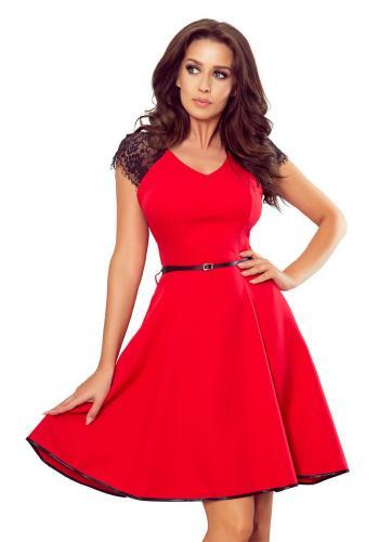 Červené rozšířené šaty s krajkovými vložkami pro dámy