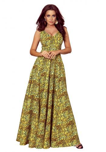 Zlato-černé dlouhé šaty s výstřihem pro dámy